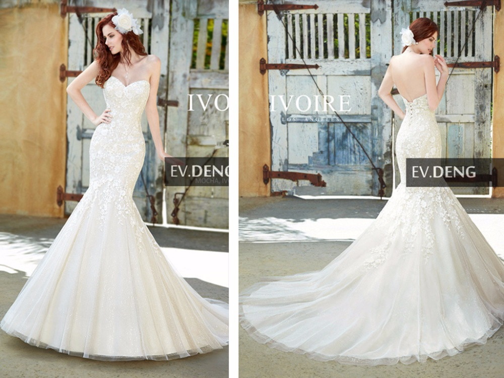 Long Lace Up Appliques Sexy Mermaid Lace Wedding Dress 2016 Hot Sale Sweetheart Vestido De Noiva Casamento Bridal Gown