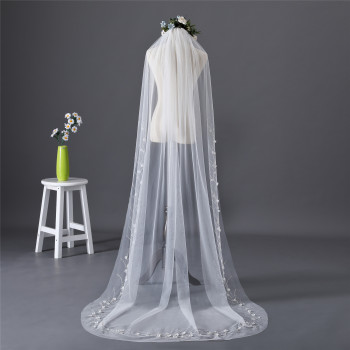 Erosebridal New Arrival 2019 Cathedral 3 Yard Bride Veil Bead Edge Veil Long Women Wedding White Veil Custom Size