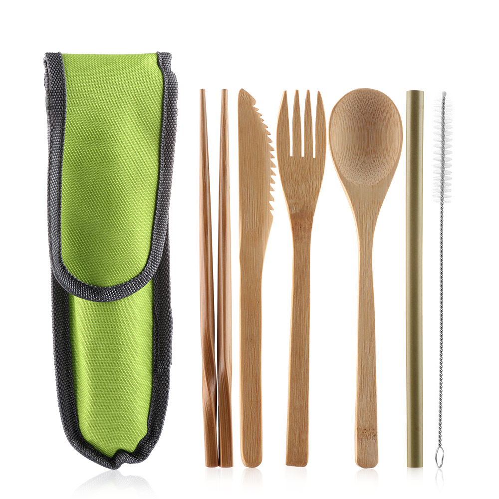 6pcs/Set Portable Bamboo Tableware Straw With Bag Picnic Fork Spoon Chopsticks Dinnerware Set Travel Camping Cutlery Set