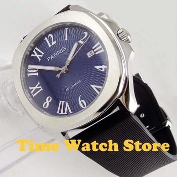 Parnis 40mm MIYOTA 5ATM Automatic wrist men's watch square case sapphire glass waterproof blue dial luminous rubber strap 1022