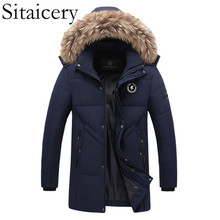 Sitaicery 2019 Hot Fashion Hooded Winter Coat Men Thick Warm Mens Down Jacket Fathers Gift Parka Waterproof Overcoat