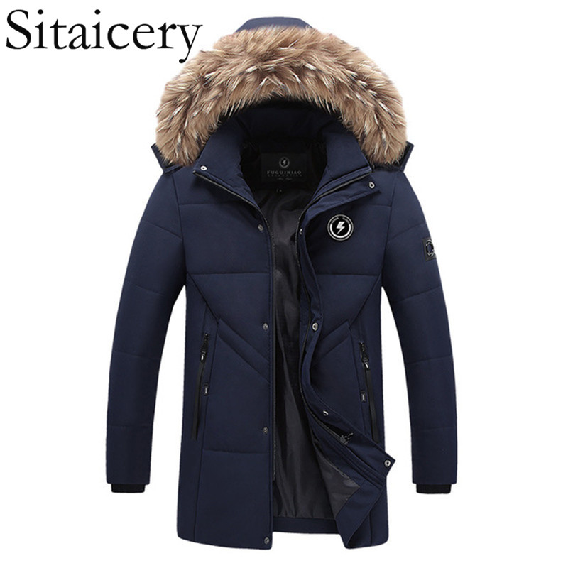 Sitaicery 2019 Hot Fashion Hooded Winter   Coat   Men Thick Warm Men's   Down   Jacket Father's Gift Parka Waterproof   Down     Coat   Overcoat