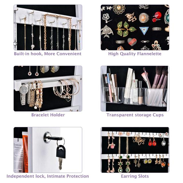 Wall Door Mounted Mirror Jewelry Box Organizer Wooden Makeup Cosmetic Drawer Container Storage Casket Earring Rings Necklace 4