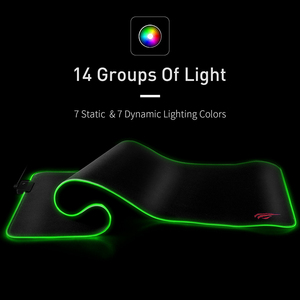 Image 3 - HAVIT Gaming Mouse Pad RGB USB LED 14 Groups of Lights Extended Illuminated Keyboard Non Slip Blanket Mat 350*250 and 800*300