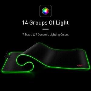 Image 3 - لوحة ماوس ألعاب HAVIT RGB USB LED 14 مجموعة من الأضواء لوحة مفاتيح مضيئة ممتدة بطانية غير قابلة للانزلاق بساط 350*250 و 800*300