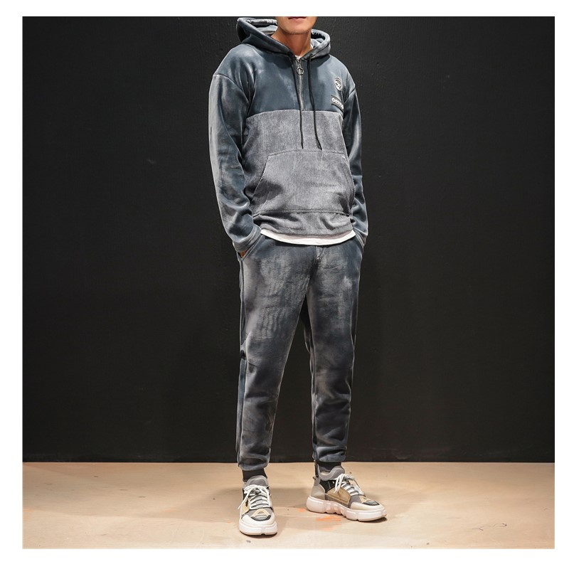 Men's Fashion Sport Set Thick Velvet Winter Tracksuit Long Sleeve Hoodie Sweatshirt Joggings Pants Workout Suit Plus SizeM-5XL