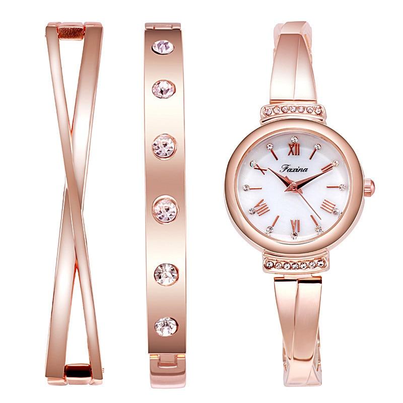 Brand Wife's Gift Women's Quartz Watch Sets Fashion Creative Crystal Design Bracelet Watch Set Female Jewelry Set