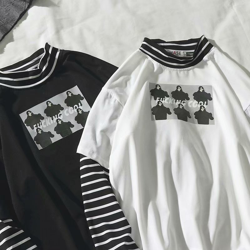 Autumn New Korea Style Stripe Patchwork Long Sleeve T Shirt Vintage Hip Hop Fake Two Pieces Clothes Funny Turtleneck Couple Wear