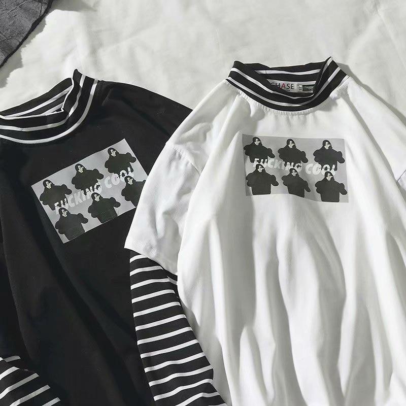 Autumn New Korea Style Stripe Patchwork Long Sleeve T Shirt Vintage Hip Hop Fake Two Pieces Clothes Funny Turtleneck Couple Wear
