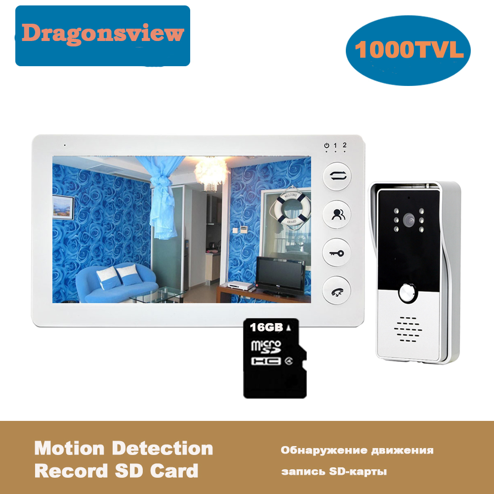 Dragonsview 7 pulgadas Video Door Phone Kit timbre con cámara portero automático para hogar desbloqueo sistema de acceso de puerta de grabación de movimiento Videoportero Dragonsview de 7 pulgadas con bloqueo para puerta de vídeo, timbre de puerta, cámara, botón de desbloqueo, visión nocturna, impermeable