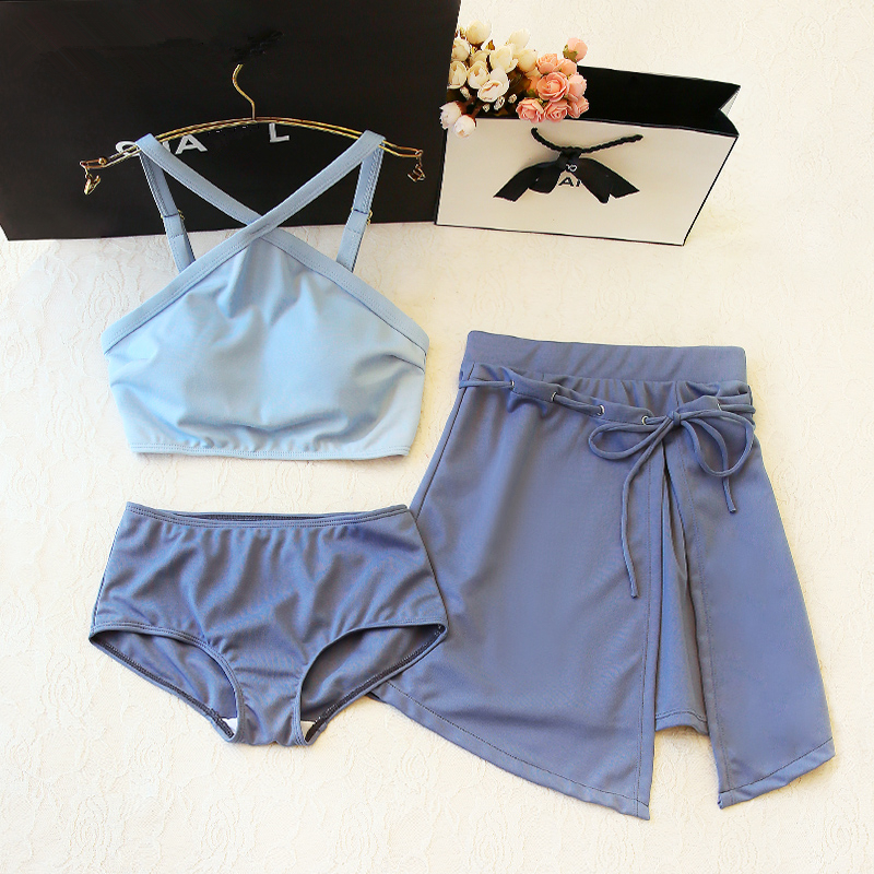 Skirt Three-piece Set Of Small Chest Closed To Show Slim And Cover Belly Conservative Beach Swimwear Korean Nethong