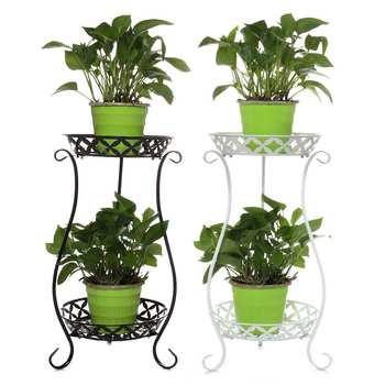Kutego żelaza dwuwarstwowy stojak na rośliny w kwiaty do postawienia na półkę na stojak balkon prosty kryty salon kawiarnia doniczka ogrodowa półka w Tace do garnków od Dom i ogród na