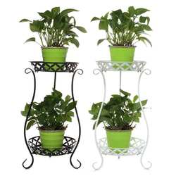 Wrought Iron Double-layer Plant Stand Flower Shelf for Rack Balcony Simple Indoor Living Room Coffee Bar Garden Flower Pot Shelf
