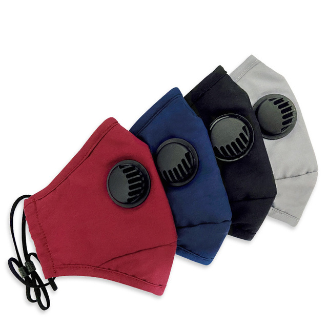 fashion washable dust mask cotton with breathing valve activated card plug in filter mask face mouth protection mask 2