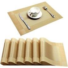 Napperon doré en PVC lavable, 6/4 pièces, tapis de Table à manger, cadre Diagonal, en tissu résistant aux taches, bol, dessous de verre antidérapant