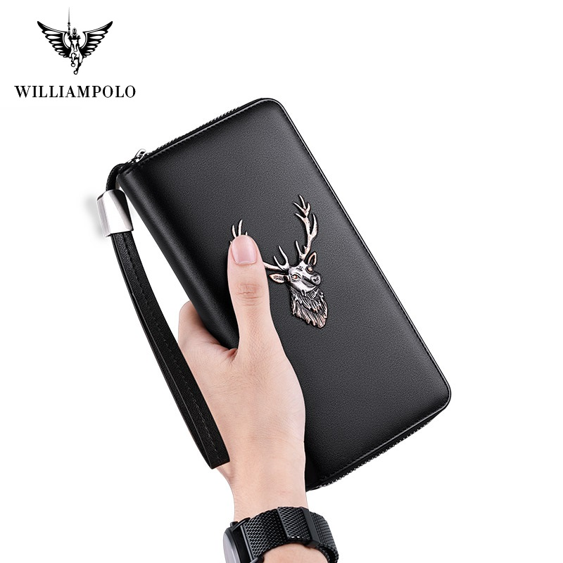 WilliamPolo Luxury Brand Leather Wallets Men Zipper Coin Purses Deer Totem Clutch Wallets Female Money Bag Credit Card Holder