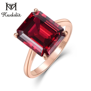 Image 1 - Kuololit 7.4ct 10K Solid Gold customize Lab Grown Ruby Ring for Women 10x12mm Ruby Rose gold Rings Engagement bride Fine Jewelry