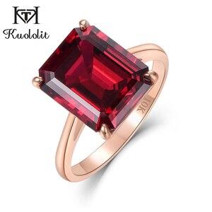 Image 1 - Kuololit 7.4ct 10k sólido ouro personalizar laboratório crescido rubi anel para mulher 10x12mm rubi rosa anéis de ouro noivado noiva jóias finas