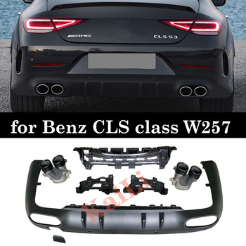 For Mercedes-benz CLS class W257 CLS500 CLS53 PP Rear Diffuser Bumper Back Lip With Exhaust Tips Car Decoration Matte Black