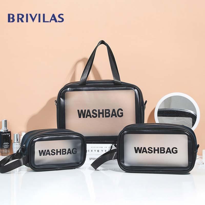 Brivilas Letter Washbag Pu Make Up Bag Transparent Travel Organizer Toiletry Bags High Capacity Waterproof Women Cosmetic Bag