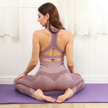 Бесшовный комплект для йоги, женская одежда для фитнеса, спортивная одежда, женские леггинсы для тренажерного зала, спортивный бюстгальтер ...