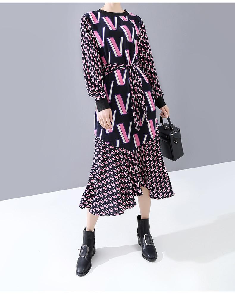 [EAM] Women Pattern Print Split Temperament Dress New Round Neck Long Sleeve Loose Fit Fashion Tide Spring Autumn 2020 1N250 5