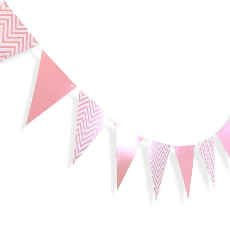 Fête Rose or papier bannière guirlande Rose bleu bébé douche bruant mariage guirlande drapeaux fête décoration fournitures