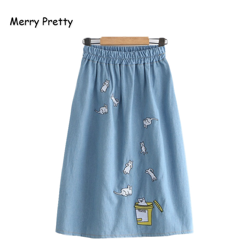 Merry Pretty Denim Women's Cartoon Cat Embroidery Denim Skirts 2019 Autumn Elasticity Waist Mini Skirts Femme Girl Jeans Skirt