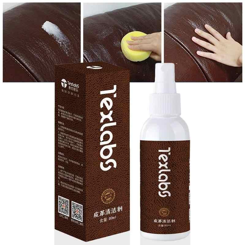80ml Detergente per Pelle Cura Manutenzione Macchia di Olio Agente di Pulizia Scarpe di Lucidatura a Cera Per Divano Sacchetto di Auto Sbiancante Spruzzo Potente