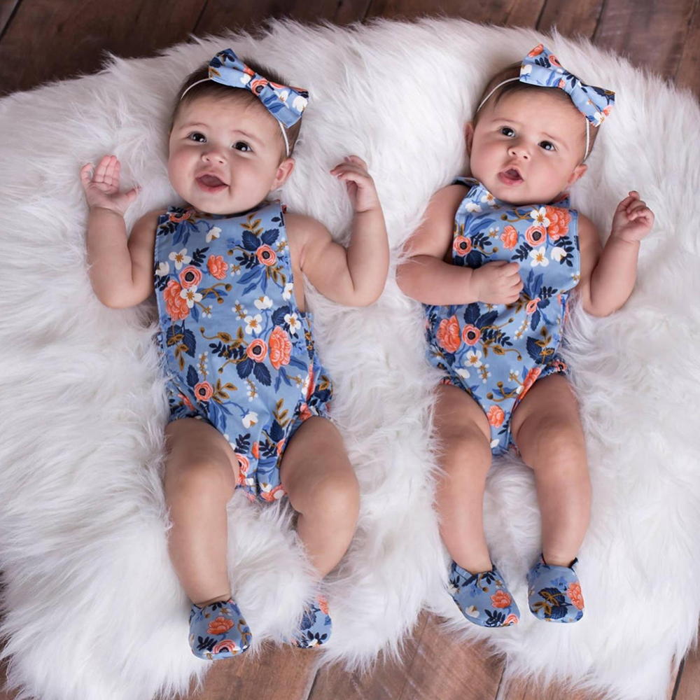 Newborn Kids Baby Girls Clothes Floral Jumpsuit Romper Playsuit Headband Outfits