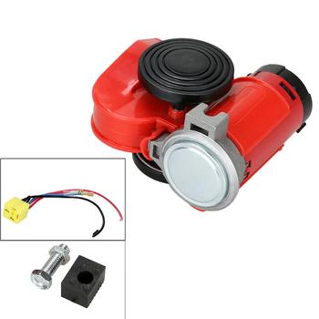 цена на (SHIP FROM Germany)CC 12V Fanfare Air Horn Red Compressor Truck Car Boat Red