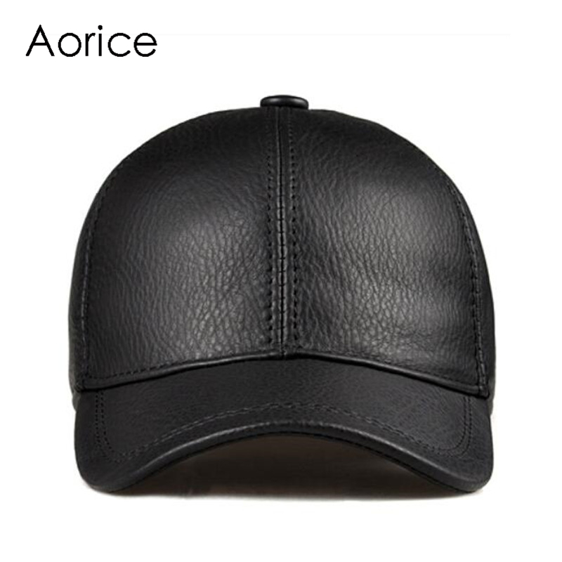 Aorice Fashion Simple Genuine Leather Baseball Cap Hat Men Winter Warm Brand New Cow Skin Women Newsboy Caps Sport Hats HL171-F