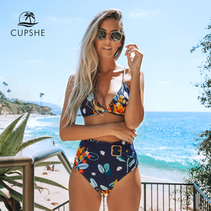 Image 1 - CUPSHE Navy and Orange Abstract Floral Print Bikini Sets Sexy Belt Swimsuit Two Pieces Swimwear Women 2020 Beach Bathing Suits
