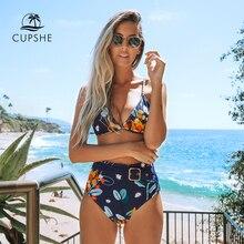 CUPSHE البحرية والبرتقالي مجردة الأزهار طباعة بيكيني مجموعات مثير حزام ملابس السباحة قطعتين ملابس النساء 2020 شاطئ لباس سباحة