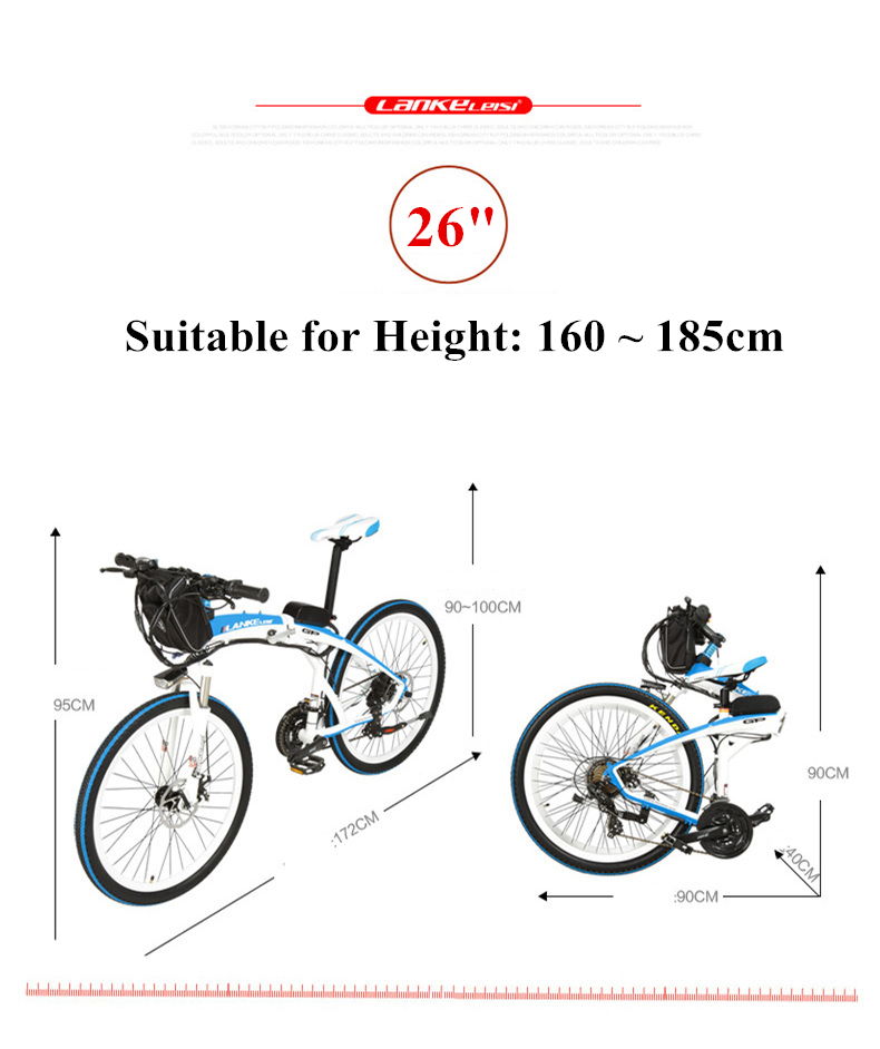 Lankeleisi 189.47 electric bicycle, folding bicycle, 26 inches, 36/48 V, 240 W, disk brake, fast folding, mountain 14
