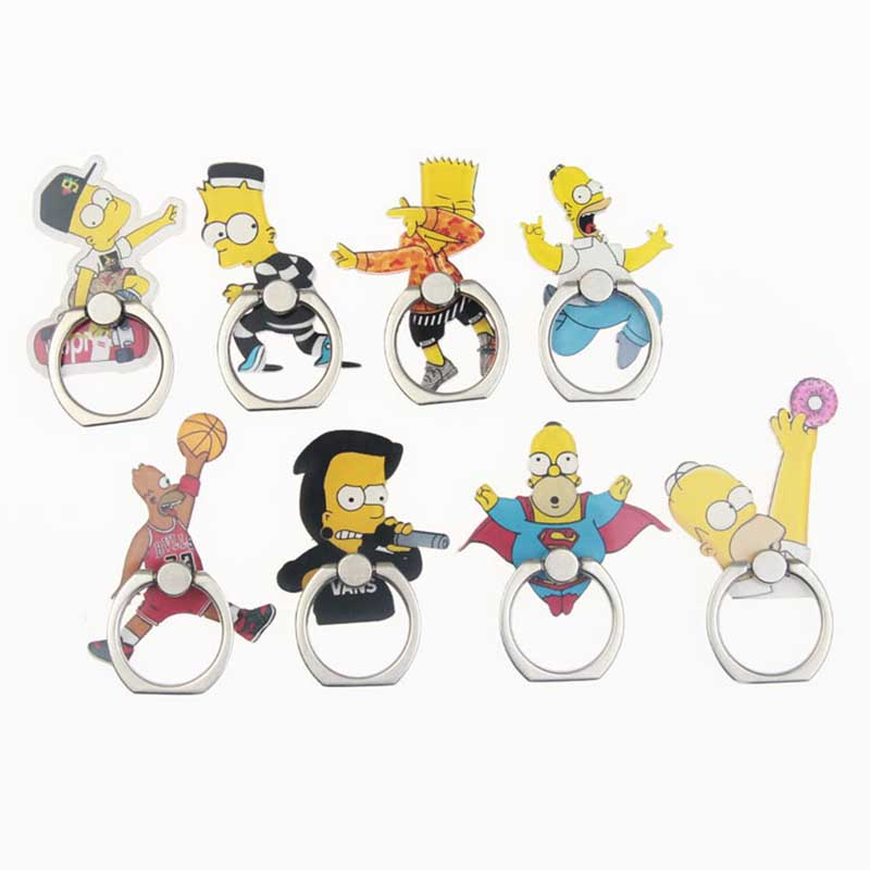 Funny Simpson Universal Phone Ring Holder Mobile Phone Holder Stand Finger Ring Holder Suporte Celular For IPhone Samsung Table