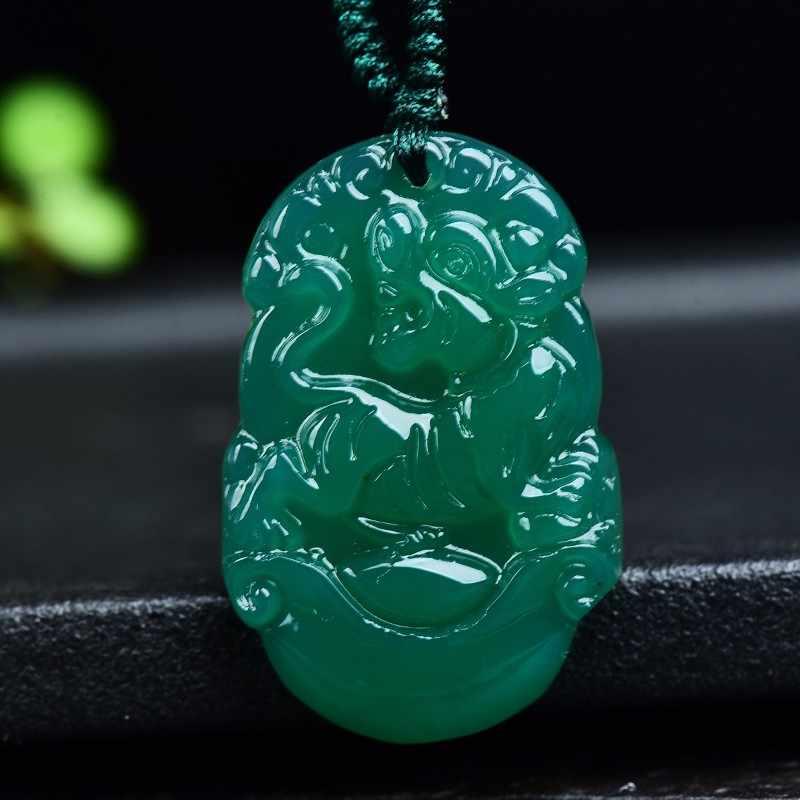 Alam Hijau Agate Jade Chinese Zodiac Liontin Kalung Pesona Fashion Perhiasan Aksesoris Ukiran Tangan Beruntung Amulet Hadiah
