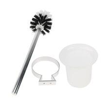 Полированная алюминиевая ручка унитаз щетка стеклянная круглая чашка держатель набор настенный аксессуар для ванной комнаты