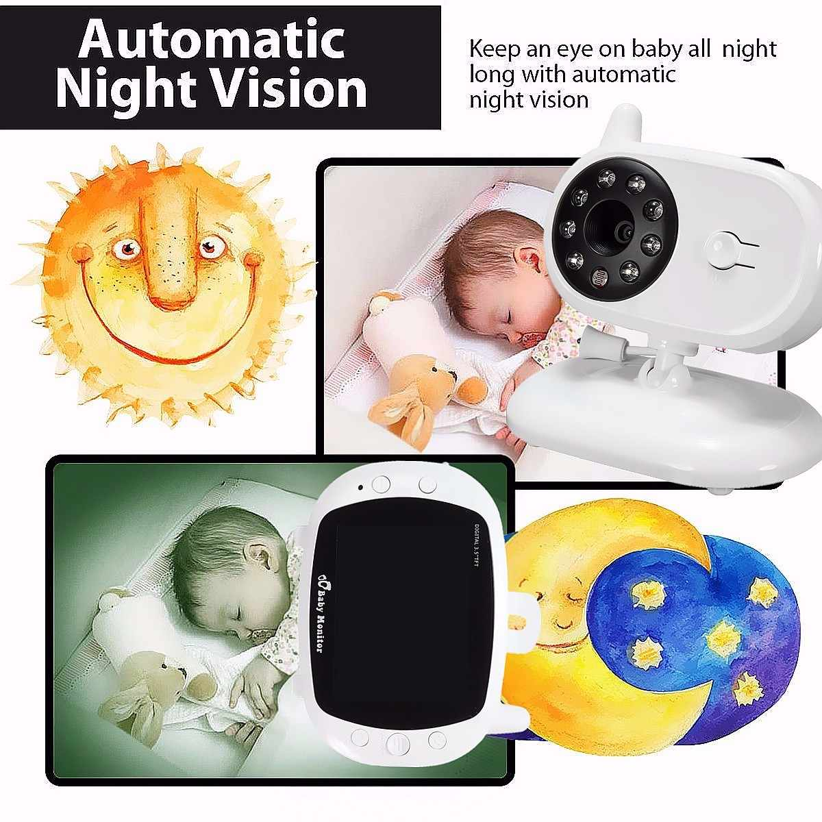 3.5 ''LCD الرقمية مراقبة الطفل 2 طريقة الصوت كاميرا فيديو لاسلكية للرؤية الليلية سلامة المنزل مراقبة الطفل جليسة الأطفال