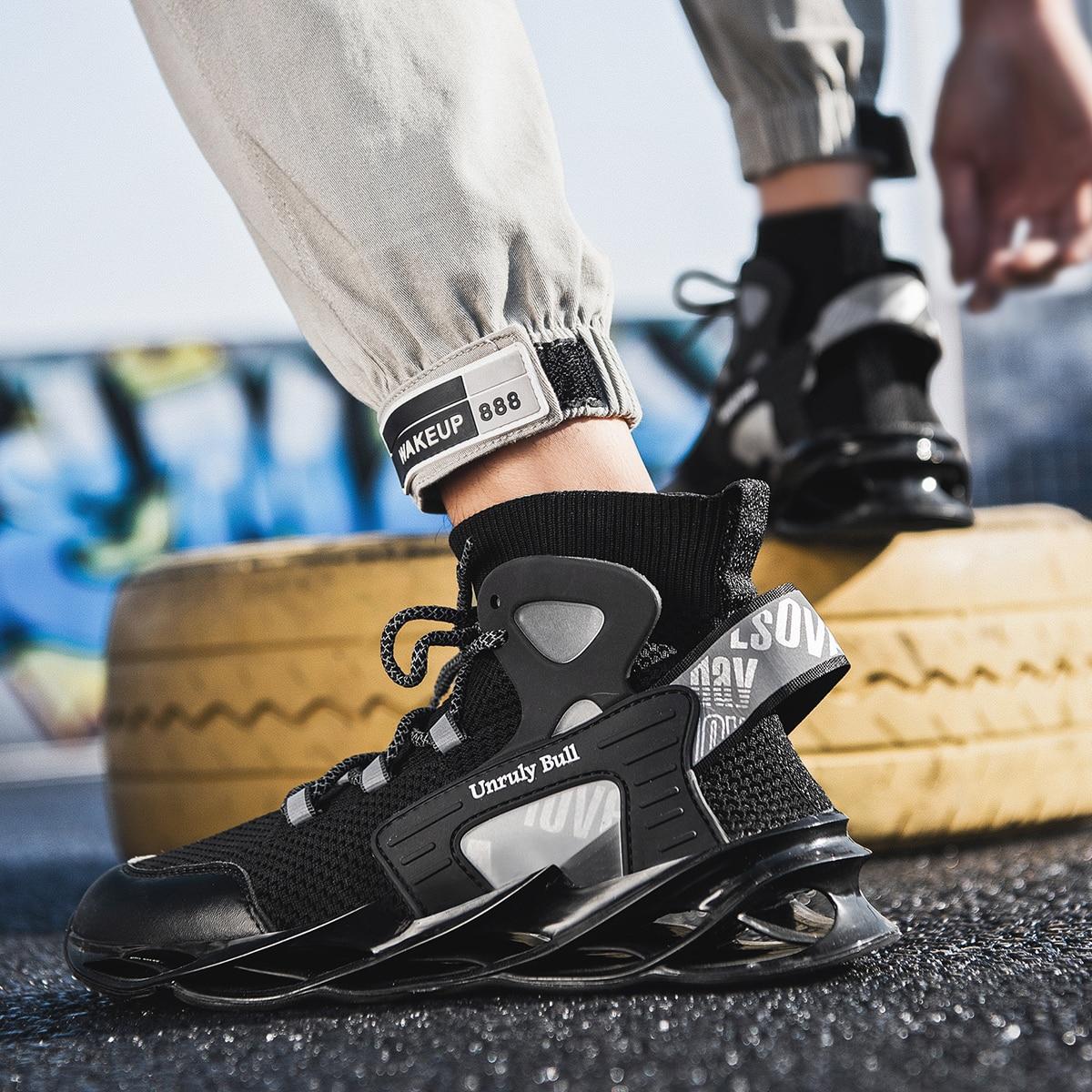 Grande taille hommes chaussures décontractées haut haut chaussures à la mode résistant à l'usure absorption des chocs chaussettes chaussures chaussures de sport lumineuses mode
