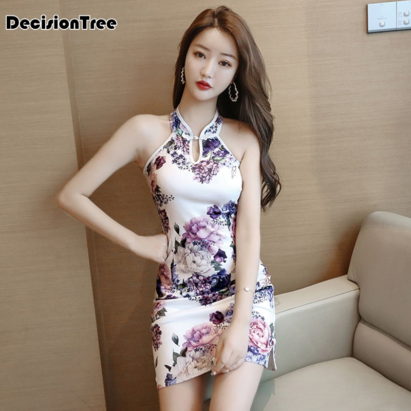 2020 Chinese Dress Sexy Qipao Backless Halter Hollow Out Party Satin Dress Vestido Chino Floral Print Mandarin Collar Qipao