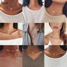 Богемное ожерелье-чокер с Луной звездой и кристаллами в виде сердца для женщин, ожерелье с кулоном на шею, чокер, ожерелье, ювелирное изделие, подарок