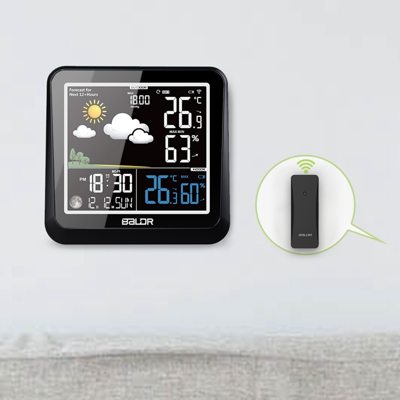 Baldr Color Display Weather Station With Moon Phase Dimmer In/Outdoor Thermometer Hygrometer Snooze Alarm Clock Remote Sensor
