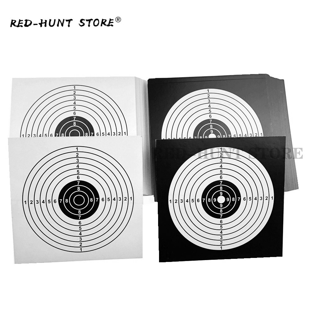 100pcs/Pack 14x14cm Shooting Targets Paper Sticker Black White Top Quality Air Rifle Pistol Shooting Targets Paintball Accessory