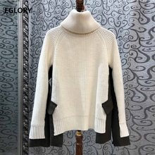 Turtleneck Sweaters 2019 Autumn Winter Pullovers Women Wool Knitted Color Block Patchwork Long Sleeve Casual Warm Sweaters Femme(China)