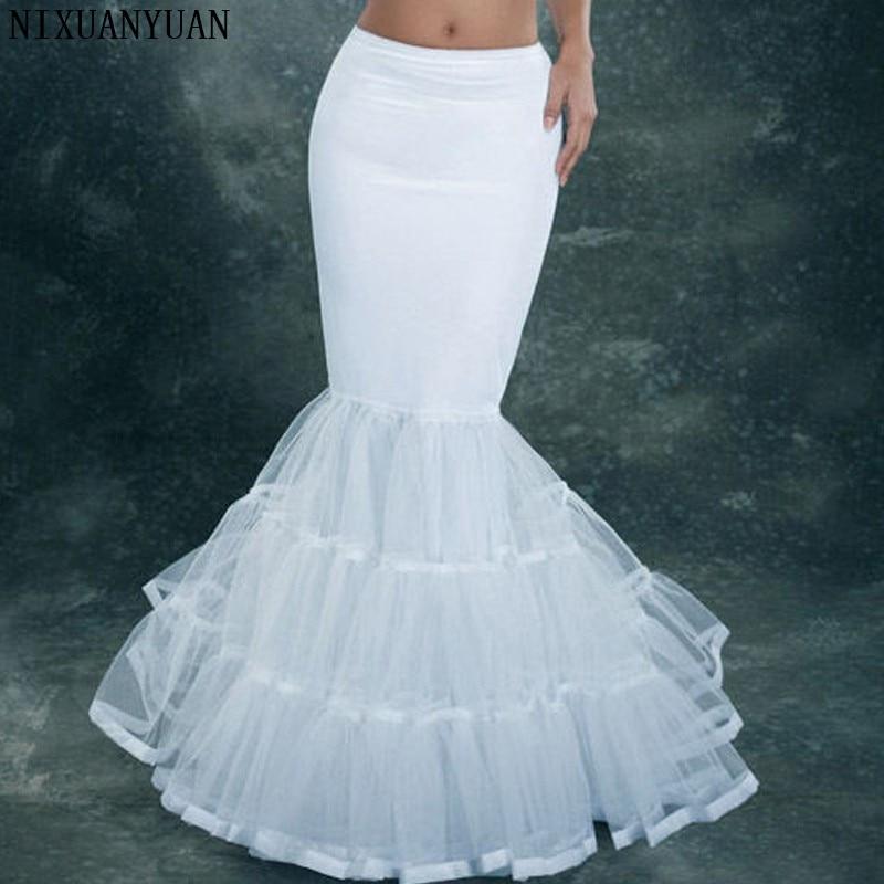 NIXUANYUAN, tul de licra, sirena blanca, estilo trompeta, vestido de boda, enagua, deslizamiento de crinolina Enagua de aro con borde de encaje de 6 aros para vestido de baile, vestido de boda, ropa interior de tul para boda, accesorios de crinolina