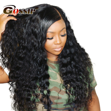 Lace Wig Human-Hair Curly Deep-Wave 250 Density Black Women for Remy