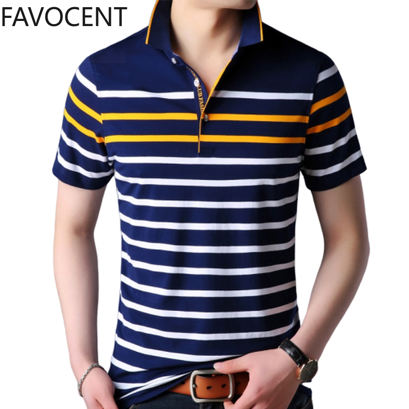 Summer New Mens Polo Shirt Business Casual Commute Striped  Short Breathable Polo Shirt Fashion Mens Clothing Slim Polo Homme