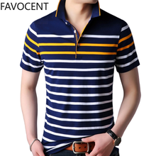 Summer New Mens Polo Shirt Business Casual Commute Striped Short Breathable Polo Shirt Fashion Mens Clothing Slim Polo Homme(China)