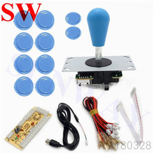 DIY Arcade Joystick Kit 5Pin Joystick Cable 24mm/30mm Buttons USB Encoder Oval ball top joystick 5 Color Optional